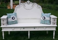Turn A Headboard, Coffee Table, & Sewing Drawers Into A Bench From Dave & Jayne's Furniture Fix Furniture Fix, Do It Yourself Furniture, Repurposed Furniture, Furniture Projects, Furniture Makeover, Antique Furniture, Painted Furniture, Furniture Design, Reproduction Furniture