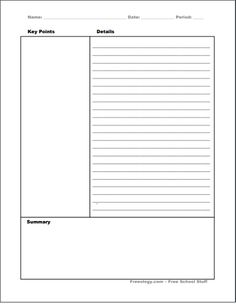 14 Free Cornell Notes Templates, Examples and Printable PDF Sheets - Free Document Templates - 14 Free Cornell Notes Templates, Examples and Printable PDF Sheets - College Notes, School Notes, College Hacks, School Tips, School Stuff, Pretty Notes, Good Notes, Cornell Notes Template, Note Sheet