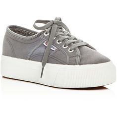 Superga Linea Lace Up Platform Sneakers ($80) ❤ liked on Polyvore featuring shoes, sneakers, gray sage, superga trainers, superga sneakers, grey shoes, rubber sole sneakers and grey sneakers