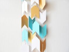 Arrow Garland in Blue White and Gold by ElisabethNicole on Etsy