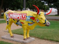 """Plainview, Texas.  This funny longhorn is located in front of the Hale County State Bank in downtown Plainview. Many similar fiberglass longhorns, bulls, and cows are positioned all over town painted with many different images in front of different businesses. It is a part of an art project called the """"Stampede."""""""