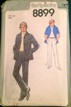 Simplicity 8899 1970s Mens  PANTS and Shirt  JACKET  vintage sewing pattern by mbchills