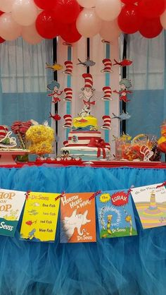 Book banner at a Dr. Seuss birthday party! See more party planning ideas at CatchMyParty.com!