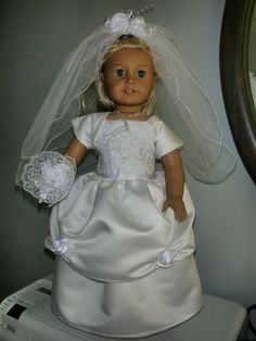 Wedding Gown & Veil  for American Girl Doll. by JennaMarieFashions, $100.00