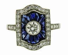 Art Deco Platinum Diamond and Sapphire Ring Size M½
