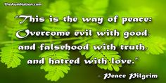 """""""This is the way of peace: overcome evil with good, and falsehood with truth, and hatred with love."""" - Peace Pilgrim"""