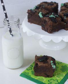 Mint Oreo Brownie Recipe the perfect ST. Patrick's Day Dessert idea.