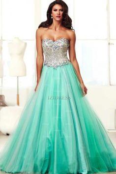 Ball Gown Sweetheart Strapless Tulle Floor-length Prom Dress - IZIDRESSES.com at IZIDRESSES.com