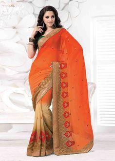 Buy Orange Color Chiffon Party wear Saree Online – Fashionic: Indian Ethnic Wear