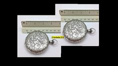 Vintage Flower Locket // SilverTone // Set of 2 // Pendant // Gift //  USA Made by Winky&DutchCoStore