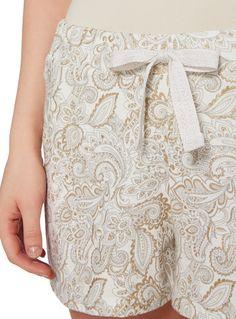 Oatmeal Paisley Glitter Print Shorts
