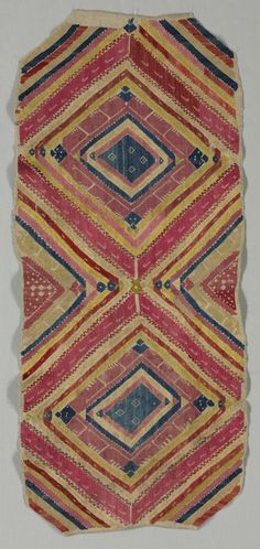 Cleveland Museum of Art Embroidery, 1600s-1700s Morocco, Moghrebin, 17th-18th century embroidery, silk, Average - h:97.80 w:42.60 cm (h:38 1/2 w:16 3/4 inches). Gift of Mr. and Mrs. J. H. Wade 1916.1236