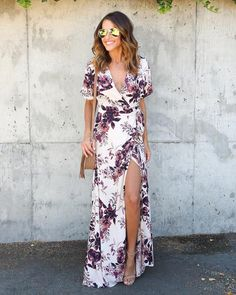 Get ready for hot summer nights in our Desert Evening Wrap Maxi Dress! The cream backdrop is complemented by maroon and plum floral details perfectly placed throughout this maxi. A true wrap style dre