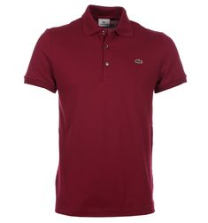 Lacoste Polo Shirts. Lacoste Bordeaux Red Mini Pique Stretch Polo Shirt