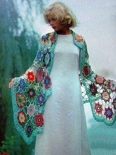 Ruana multicolor de crochet