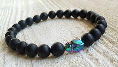 Mens Bracelet Black Onyx, SCARAB, Gift for Men, Bracelet for Man,Mens Beaded, Crystal SWAROVSKI ELEMENTS, Wrist Mala, Energy Bracelet,
