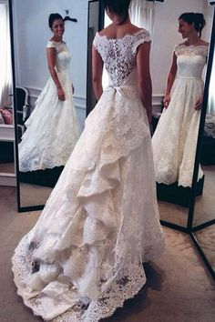 Off Shoulder Cap Sleeves Sweep Train Lace Wedding Dress With Sash Ruffles