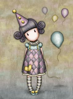 Gorjuss Pierrot Doll Greetings Card from Santoro London.This greeting card is decorated with the adorable Pierrot Doll artwork in soft shades of smoky grey, click and view more! Illustration Mignonne, Cute Illustration, Art Fantaisiste, Art Mignon, Santoro London, Art Watercolor, Pierrot, Circus Theme, Little Doll