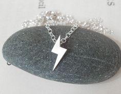 sterling silver lightning bolt necklace handmade in the UK. £18.00, via Etsy.  5x14mm