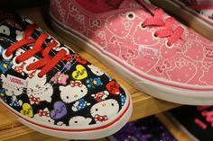 Sneak peek of new Vans x Hello Kitty collab!  NEED THOSE SHOES ON THE LEFT!