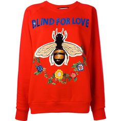 Gucci Blind for Love sweatshirt ($1,154) ❤ liked on Polyvore featuring tops, hoodies, sweatshirts, red, embroidered top, floral tops, cotton sweatshirts, gucci sweatshirt and long tops