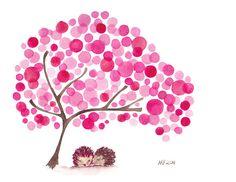 Hedgehogs Watercolor Tree Art Print Valentines Artwork. $15.50, via Etsy.
