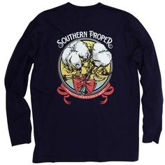 Southern Proper Navy Long Sleeve Preppy Pickins Graphic Tee ($36) ❤ liked on Polyvore featuring men's fashion, men's clothing, men's shirts, men's t-shirts, navy, mens cotton shirts, mens short sleeve shirts, mens pullover shirts, mens graphic t shirts and mens crew neck t shirts