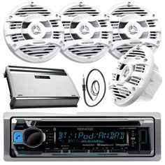 "New Kenwood Marine Bluetooth CD MP3 USB AUX iPod iPhone Radio Stereo Player With 4 X 6.5"" Inch Kenwood Marine Audio Speakers 4 Channel 360 Watts Marine Amplifier And Enrock Marine 45"" Antenna - Complete Marine Outdoor Audio Package (White). Package Includes: 1 Kenwood Stereo 2 Pair Of Spekaers 1 Amp 1 Antenna. AM/FM radio with station presets, CD player for standard audio CDs and also CDRs burned with MP3 or WMA files, 200 watts peaker power (50 watts x 4 channels) Removable faceplate…"
