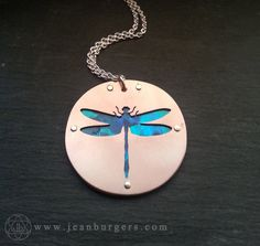 Dragonfly Pendant copper and blue paua shell Handcrafted