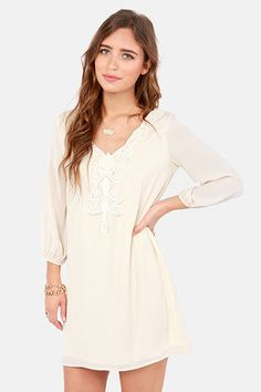 could work with tall boots. Scroll-House Rock Cream Shift Dress