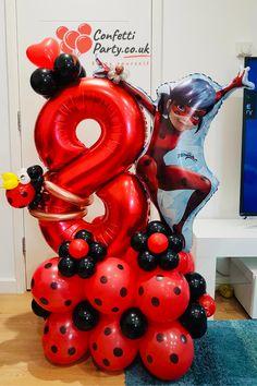 Girl Birthday Decorations, Balloon Decorations, Birthday Party Themes, 8th Birthday, Ladybug Crafts, Ladybug Decor, Cumpleaños Lady Bug, Miraculous Ladybug Party, Rosalie
