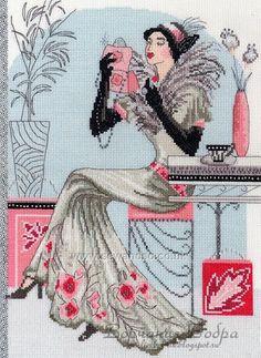 0 point de croix femme rétro se maquillant - cross stitch retro lady putting make up