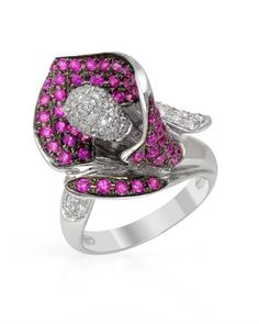 Diamond, sapphire and white gold ring.