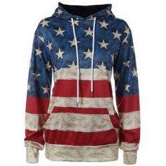 American Flag Printed Loose Hoodie #fbloggers #patriotic #style