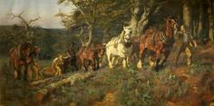 """""""Timber-Hauling in the New Forest"""" by Lucy Kemp-Welch"""