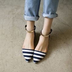 Goodnight Macaroon PREMIUM NAUTICAL STRIP POINTY METAL PLATE ANKLE STRAP FLATS