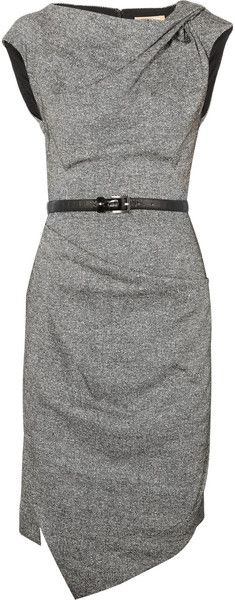 Michael Kors Draped Wool and Silkblend Tweed Dress in Gray (black) - Absolutely Stunning!