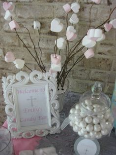 "Stick up on these marshmallows at Vday Photo 8 of Silver, white and pale pink / First Communion ""First Holy Communion Candy Buffet ~ girl"" Première Communion, First Communion Party, Communion Cakes, Baptism Party, First Holy Communion, Holy Communion Dresses, Baptism Ideas, Deco Buffet, Candy Buffet"