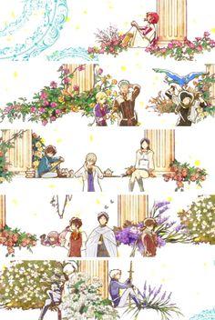Akagami no Shirayukihime - Zen and Shirayuki #manga #anime Kiki-Mitsuhide-Obi-Prince Izana-Garrack-Ryu-Prince Raj