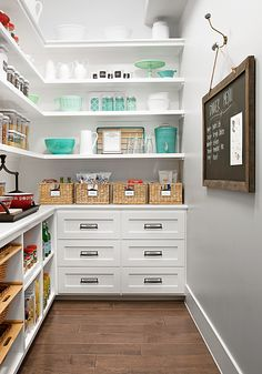 This dreamy family kitchen is a storage oasis work cook kitchen tour organize pantry shelving drawers white - Own Kitchen Pantry Pantry Shelving, Pantry Storage, Kitchen Storage, Open Shelving, Pantry Room, Pantry Closet, Ikea Pantry, Pantry Diy, Corner Pantry