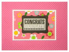 Send congrats to the graduate with this super sweet , one of a kind, hand crafted graduation card made with a 3D message and layered pink fl...