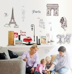 Wall Decor - OneHouse Paris Bonjours Quote the Map of Travel Paris DIY Wall Decor Decals -