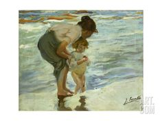Mother and Child at the Beach, 1908 Giclee Print by Joaquin Sorolla at Art.com