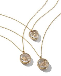 Love Charm Locket Necklace, Hope Charm Locket Necklace and Happiness Charm Locket Necklace by Loquet London at Neiman Marcus.