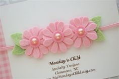 Felt Flower Headband in Daisy Pink - Newborn Headband, Baby Headband, Toddler…