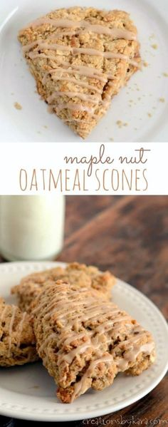 Nut Oat Scones How to make oatmeal scones with maple glaze! Awesome breakfast or dessert!How to make oatmeal scones with maple glaze! Awesome breakfast or dessert! Oatmeal Scones, Breakfast Scones, Best Breakfast, Breakfast Recipes, Dessert Recipes, Scone Recipes, Oat Scones Recipe, Breakfast Dessert, Oreo Dessert