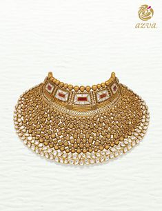 Azva contemporary showstopper handcrafted with intricate gold wire and engravings. Indian Bridal Jewelry Sets, Indian Jewelry, Bridal Jewellery, Gold Chocker Necklace, Necklace Set, Chokers, Earrings, Gold Jewellery Design, Gold Jewelry