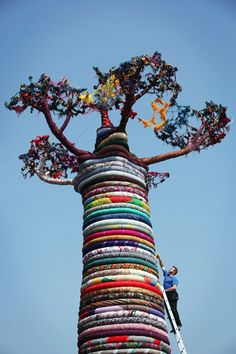 Giant Tree Made of 80 Different Types of Fabric