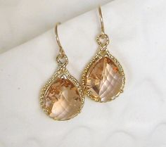 Peach Bridesmaid Earrings Gold and Peach Wedding Jewelry Champagne Peach Sapphire Drop Earrings Crystal Bridal Jewelry Coral Earrings on Etsy, $29.00