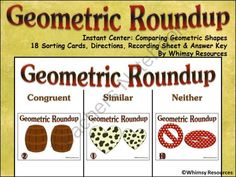 Geometric Roundup Math Center Western Theme  from Whimsy Resources on TeachersNotebook.com -  (18 pages)  - Geometric Roundup Math Center Western Theme  Identifying Congruent and Similar Figures  Instant Math Center